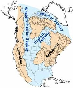 Western Interior Seaway - Wikipedia, the free encyclopedia. There was a sea running through the middle of the US and Canada!
