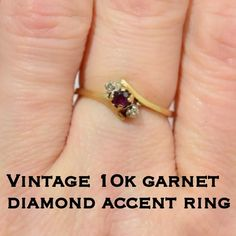 SALE Vtg 10K gold garnet w/ diamond ring This is a beautiful vintage 10k yellow gold garnet with diamond accents ring. Size 6. Marked with hallmark stamp, 10K S. See picture. Weight 1.49 grams. The ring is in great vintage condition. The garnet stone measures 3.0mm & the 2 diamonds are 1.3mm. This would be a perfect addition to anyone's vintage jewelry collection!  Please don't hesitate to ask any questions. I ship out same day! Please make REASONABLE offer using the offer feature only…