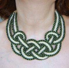 FREE SHIPPING.Forest green and ivory sailor knot by agatsknitting