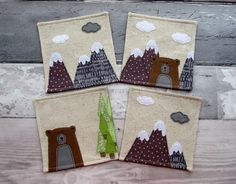 Decorative Fabric Coasters, Nature Lovers Gift, Applique Bear £22.00