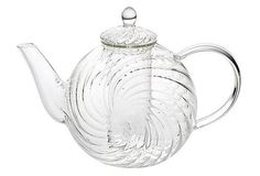 Swirl Round Glass Teapot with Glass Infuser - pretty, but i find that with pots like this a lot of tea gets lose from the filter. Glass Teapot, Hand Blown Glass, Tea Time, Round Glass, Tea Pots, Whimsical, Mugs, Tableware, Ebay