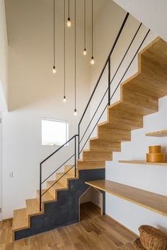 44 chic indoor home staircase design ideas for your home 30 Metal Barn Homes, Metal Building Homes, Pole Barn Homes, Building A House, Modern Staircase, Staircase Design, Pole Barn House Plans, Stair Handrail, Floating Stairs