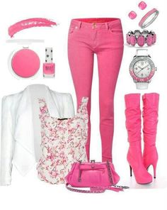 I love it all except the pink boots with pink pants... a bit too much. Black jeans or black boots.