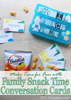 Family dinners are important but busy schedules can make nightly ones difficult. Family Snack Time Conversation Cards make family time on the go easy! #ad
