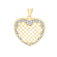 1/10 Ct Round Cut Genuine Diamond 18K Gold Over Openwork Heart Pendant Without Chain by JewelryHub on Opensky