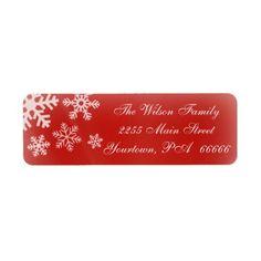 Elegant Red Return Address Labels