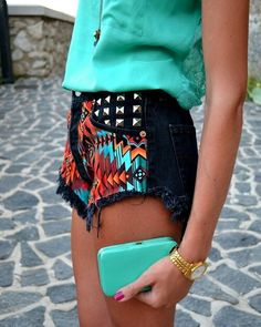Love this mint combination paired with the printed/studded shorts!
