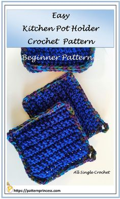If you can complete a chain stitch and a single crochet stitch, you can make this easy, beginner kitchen pot holder. This a simple DIY project. Easy Crochet, Free Crochet, Crochet Hats, Hand Embroidery Designs, Folk Embroidery, Indian Embroidery, Easy Diy, Simple Diy, Crochet Potholders