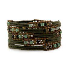 Moss green wrap bracelet ($56) ❤ liked on Polyvore featuring men's fashion, men's jewelry, men's bracelets, mens leather braided bracelets, mens woven bracelets, mens leather bracelets, mens woven leather bracelets and mens bead bracelets
