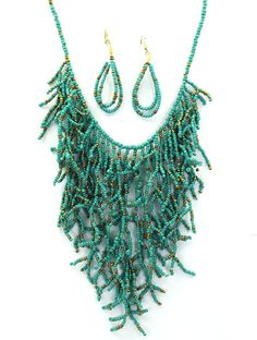 Turquoise Bib Statement Twiggy Beaded Bohemian Coral Reef Necklace Earring Set #MODE