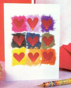 Tarjeta-San-Valentin-Niños-Manualidades  con petalos de rosa