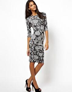 Image 1 ofClub L Midi Dress with 3/4 Sleeves