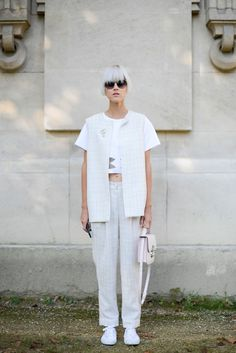 Pin for Later: The Best of Paris Fashion Week Street Style (Updated!) PFW Street Style Day 7 Linda Tol loves a crisp white suit.