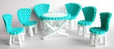 Perler Bead doll Tables and chairs - Perler Bead ideas - Fuse bead designs - Perler Bead - Perler bead art - #perlerbead