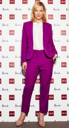 CATE BLANCHETT..The Blue Jasmine star made sure she stood out in this Stella McCartney suit while at a promotional event in England late last year. Not only is this look fresh, but it also screams independence and confidence. We love how Cate took the risk with this bright colour as it really paid off! Best dressed list for sure.