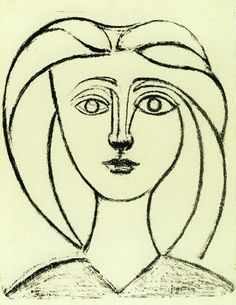 """Pablo Picasso - """"Head of a Girl with big hair VI"""". 1945"""