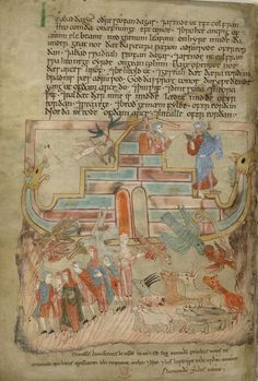 Miniature of Noah's Ark,Old EnglishHexateuch(London, British Library, MS. Cotton Claudius B. IV, f. 15v).