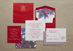 Thermography Floral wedding invites, Custom Stamps + Houndstooth = design by Abbey Malcolm Letterpress + Design www.abbeymalcolmpress.com #houndstoothinvites #floralwedding #customweddingstamps