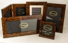 5 New Marlborough Collection Burl Wood Photo Frames w Marquetry 1 Double Fold #Marquetry #BurlWood #Frames