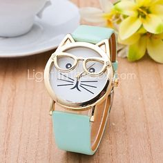 katt klocka med glasögon kvinnor kvarts klockor Reloj mujer relogio feminino läderrem klocka - USD $ 6.39
