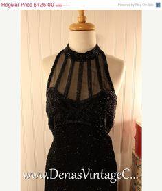 60% Off Black Friday Sale 80s Vintage Stenay Sheer Black Silk Beads Prom Party Cocktail Dress Sz M #vintage #vintagecoat
