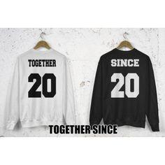 Bluzy dla par zakochanych komplet 2 szt Together Since + numer data