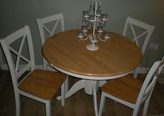 SHABBY CHIC PINE TABLE AND 4 CHAIRS, FARMHOUSE ROUND PINE TABLE, DINING  TABLE