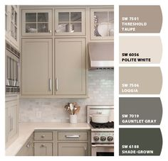 Kitchen Trends Here to Stay Instantly turn any picture into a palette with ColorSnap, created for you by Sherwin-Williams.Instantly turn any picture into a palette with ColorSnap, created for you by Sherwin-Williams. Taupe Kitchen Cabinets, Kitchen Cabinet Colors, Kitchen Paint, Kitchen Redo, Kitchen Backsplash, Glass Cabinets, Kitchens With Painted Cabinets, How To Paint Kitchen Cabinets, Kitchen Color Schemes