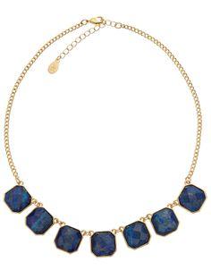 Semi Precious Stone Collar Necklace with Lapiz Lazuli at Accessorize