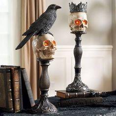 Raven Skull Head on Pedestal - Grandin Road