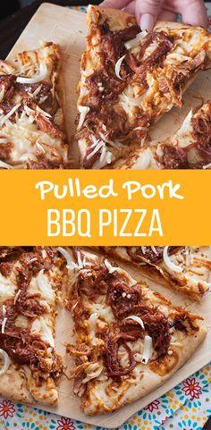 Brisket bbq pizza (swap the pork for brisket) Bbq Pizza Recipe, Pizza Recipes, Pork Recipes, Gourmet Recipes, Cooking Recipes, Meat Pizza, Dinner Recipes, Grilling Recipes, Pizza