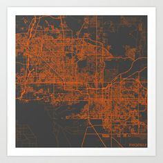 Phoenix map Art Print by Map Map Maps - $18.00 ----------------------------If you like my work, you can folllow my Facebook accournt : https://www.facebook.com/MapMapMaps?ref_type=bookmark