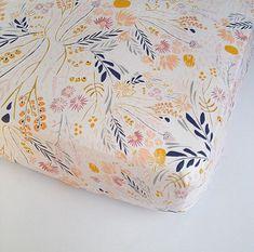 Girls Crib Bedding  Peach Gold Grey Blue Crib Sheets by Babiease