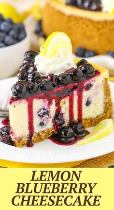 This Lemon Blueberry Cheesecake is thick, creamy and flavored with tangy lemon and blueberries throughout. It sits in a graham cracker crust and is topped with a homemade blueberry sauce!