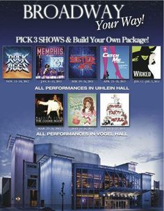 Flex packages available for the Marcus Center 12/13 seasons! #broadway #milwaukee