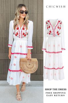 Free Shipping & Easy Return. Up to 30% Off. Stay Romance Embroidered Maxi Dress featured by wearandwhenblog. Valentine's day outfit. Shop for the cutest dress at chicwish.com. #outfit #clothing #womenfashion #fashion #springoutfit #casualoutift #outfitidea #dress #valentine #maxidress #floraldress #embroidereddress #embroidery