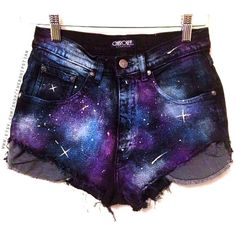 Galaxy High Waisted Denim Shorts High Waste Shorts Women's Clothing... (110 BRL) ❤ liked on Polyvore featuring shorts, bottoms, pants, galaxy, cuffed jean shorts, high-rise shorts, high rise denim shorts, high-waisted shorts and short denim shorts
