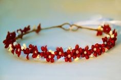 christmas flower crown, christmas halo, holiday flower crown, red floral crown…