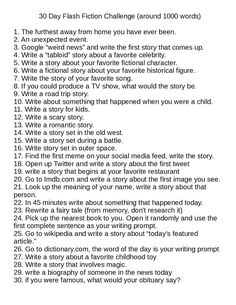 I got tired of 30 day writing challenges that were just lists of stuff about…