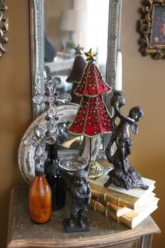 Romancing the Home: Christmas Magic throughout the House   . . . idea for fabric tree