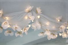 """Flowery fairy lights with fabric ("""",)"""