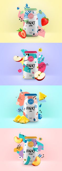 "Bright and Colorful - Could be cute to use traditional ""Yogurt"" style packaging for the Plant Yogurt - but distinguish it cleverly to be a Yogurt for Plants. Yogurt Packaging, Dairy Packaging, Juice Packaging, Food Packaging Design, Beverage Packaging, Bottle Packaging, Packaging Design Inspiration, Branding Design, Product Packaging Design"