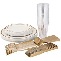 Gold White Value plastic disposable wedding Party Pack 60 setting - Needing more bang for your buck? Introducing our new value party pack. Including in this set is our white gold rim disposable plastic plate wedding value set, gold plastic fork knife spoon cutlery set & 12 oz plastic crystal party cups. Perfect for a dinner party of 60 people.    Please note: Solid gold charger plate not included. Disposable Wedding Plates, Disposable Plastic Plates, Plastic Forks, Gold Flatware, Cutlery Set, Clear Tumblers, Paper Dinner Napkins, Value Set, Gold Chargers