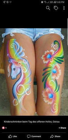 One stroke rainbow unicorn and flower design