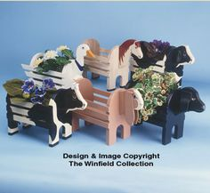 Wooden Goose Planter | This functional pattern set contains nine different animal planters ...