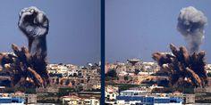 Artistas palestinos convierten en arte los bombardeos israelíes (FOTOS)