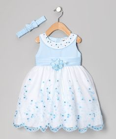 Look at this #zulilyfind! Blue Floral Yoke Dress & Headband - Infant #zulilyfinds