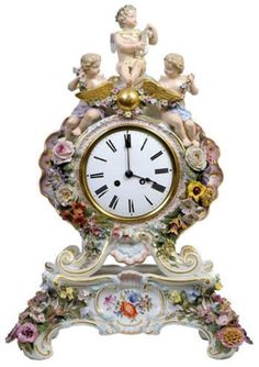 Meissen Porcelain Clock Modeled with Putti ... at Hadassa Antiques