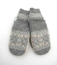 Wool Mittens from Recycled Sweaters Fleece Lined Grey and Cream Fair Isle. $30,00, via Etsy.
