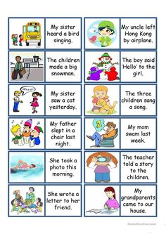 Past Tense Card Game worksheet - Free ESL projectable worksheets made by teachers Learn Spanish Free, Learning Spanish For Kids, English Lessons For Kids, Spanish Games, English Grammar Worksheets, English Verbs, English Vocabulary, Teaching English, Learn English